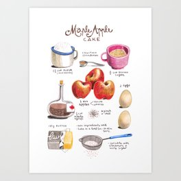 illustrated recipes: apple maple cake Art Print
