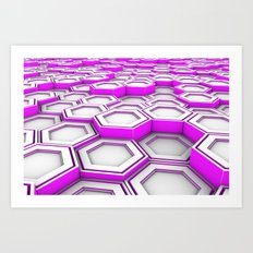 Honeycomb pattern of glowing hexagons Art Print