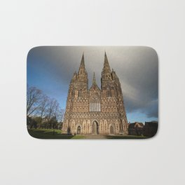 Stormy Clouds Over The Lichfield Cathedral Bath Mat