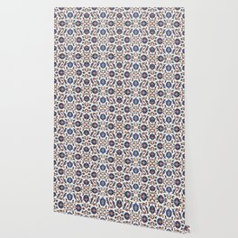 Iznik Pattern Red Blue White Wallpaper