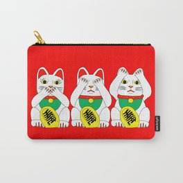 Three Wise Lucky Cats on Red Carry-All Pouch