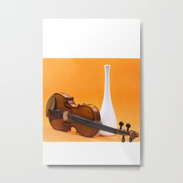 Still life with violin and white vase on an orange Metal Print