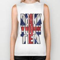 british Biker Tanks featuring Tea / British by tshirtsz