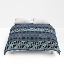 Black blue braided textiles . Comforters
