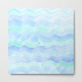 Water Color Ocean Wave Aqua Metal Print