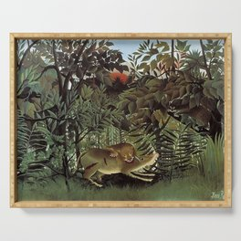 THE HUNGRY LION ATTACKING AN ANTELOPE - ROUSSEAU Serving Tray