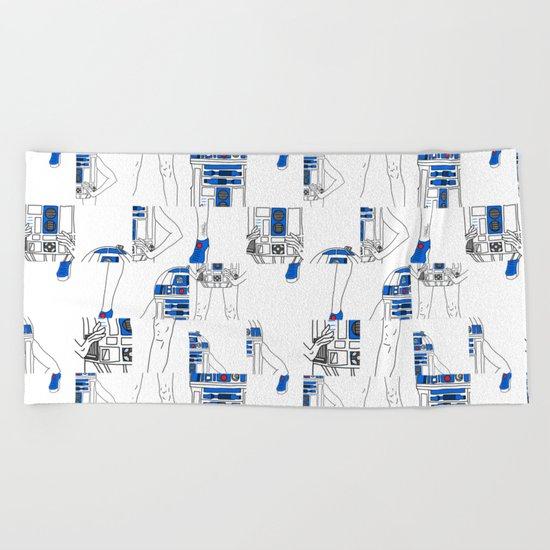 Robot Girl Cubism Beach Towel