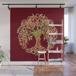 Tree of Life Maroon Wall Mural
