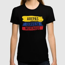 Arepas Cerveza Merengue print Gift with a Colombian flag T-shirt