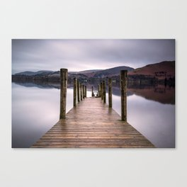 Lake View with Wooden Pier Canvas Print