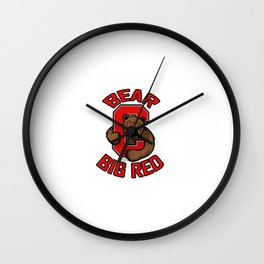 Bear big red Wall Clock