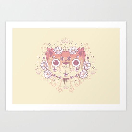 Cat flowers Art Print
