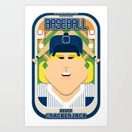 Baseball Blue Pinstripes - Deuce Crackerjack - Hazel version Art Print