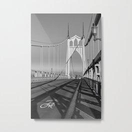 Black and White Series - St. Johns Bridge, Portland Oregon Metal Print