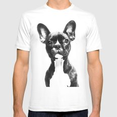 French BullDog LARGE Mens Fitted Tee White