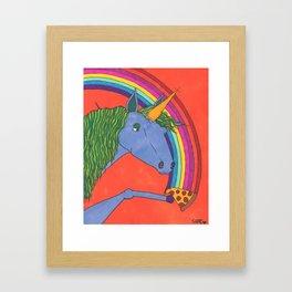 Unicorns love Pizza Framed Art Print