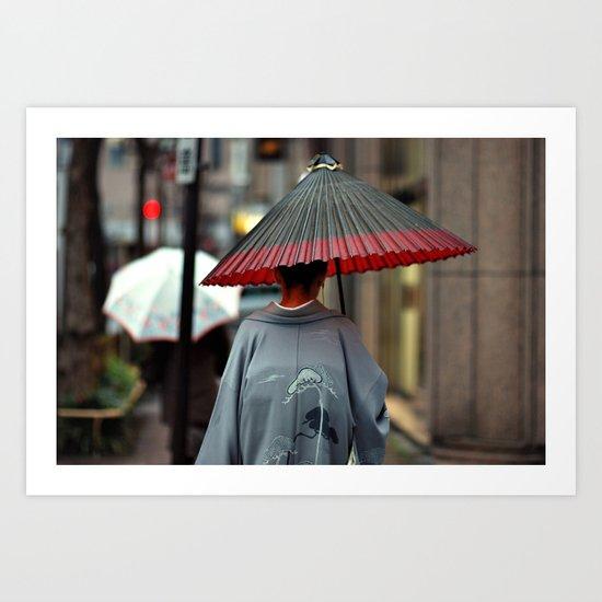 Geisha Walking Art Print