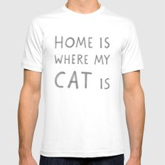 Home is where my cat is White Mens Fitted Tee MEDIUM