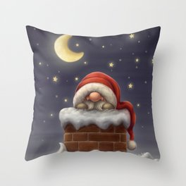Little Santa in a chimney Throw Pillow