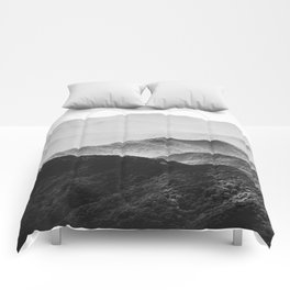 Glimpse - Black and White Mountains Landscape Nature Photography Comforters