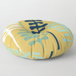 Abstract jungle - mustard Floor Pillow
