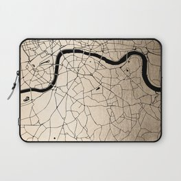 London Gold on Black Street Map II Laptop Sleeve