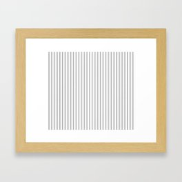 Mattress Ticking Narrow Striped Pattern in Charcoal Grey and White Framed Art Print