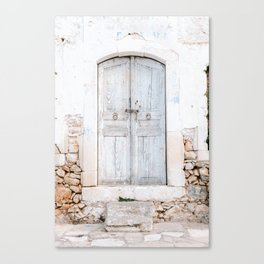 Never too old   Greek light blue old door in Crete, Greece   Pastel colored travel photography print Canvas Print