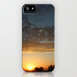 Kansas Sunset with Power Line Silhouette's and cloud's iPhone Case