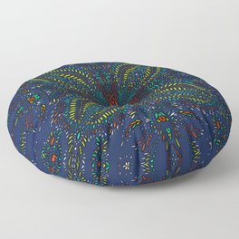 Mexican Chromatic Pattern Blue Floor Pillow