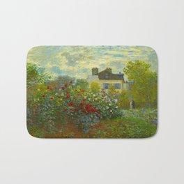 Claude Monet Impressionist Landscape Oil Painting A Corner of the Garden with Dahliass Bath Mat