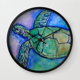 Sea Turtle Watercolor Painting Wall Clock