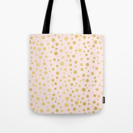Luxe Rose Gold Polka Dots Pattern Seamless Vector, Drawn Metallic Tote Bag