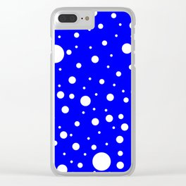 Mixed Polka Dots - White on Blue Clear iPhone Case