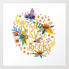 Read More Books - Floral Gold Art Print