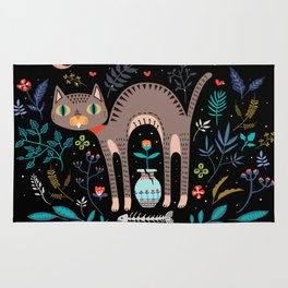 Floral and Cat at night Rug