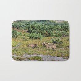 Kamchatka brown bears (mother and cub) Bath Mat