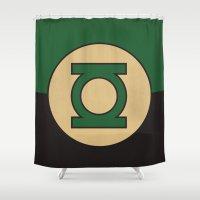 dc comics Shower Curtains featuring Green Lantern Logo Minimalist Art Print DC Comics by The Retro Inc