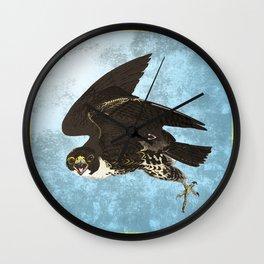 The hawk hangs perfect in mid air.. Wall Clock