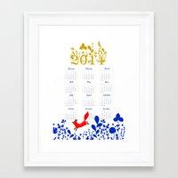 calendar Framed Art Prints featuring 2014 calendar by itsbyrosie