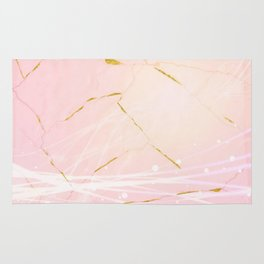 Rose Gold Marble Burst Rug