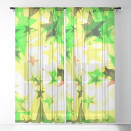 Bright glowing green golden stars on a light background in the projection. Sheer Curtain