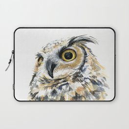 Owl Great Horned Bird of Prey Owls Animals Bird Wildlife Laptop Sleeve