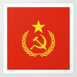 Russian Communist Flag Hammer & Sickle Art Print