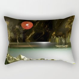 3d Modeling Cave Lake with Red Sun Rectangular Pillow