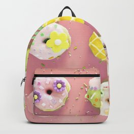 Colorful Donuts Print Pink Background Backpack