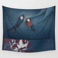 constellations Wall Tapestries featuring Constellations by Ramona Treffers