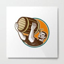 Bartender Pouring Drinking Keg Barrel Beer Retro Metal Print