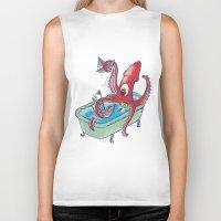 kraken Biker Tanks featuring kraken by Caramela
