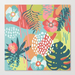 Abstract Tropical Rainforest Palm Leaves and Flowers in Bold Summer Colors Canvas Print